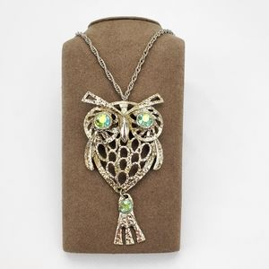 Vintage Unsigned Owl Chain Necklace Rhinestone eye